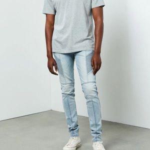 PacSun Light Indigo Biker Stacked Skinny Jeans